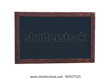 An old, blank blackboard with dark, battered wooden frame, isolated on a white background. Copy space for designer to add message in chalk style text. - stock photo