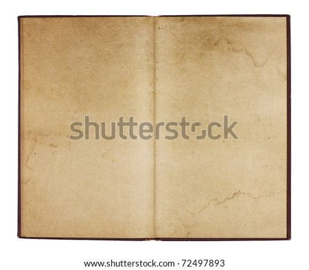 An old book from the 1920s open to two blank facing pages with room for your own text and images. Isolated on white with clipping path. - stock photo