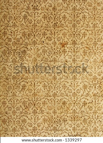 An old book inner cover paper page with golden print. Retro background type.