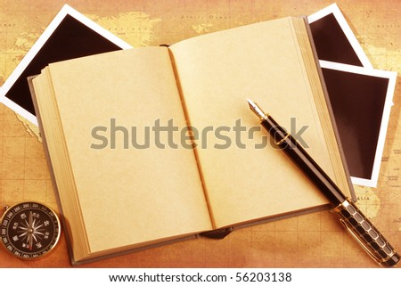 An old book on a Treasure map background - stock photo