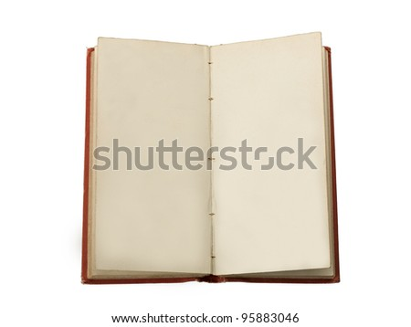 An old book open to two blank facing pages , Isolated on white - stock photo