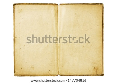 an old book with blank yellow stained pages  - stock photo
