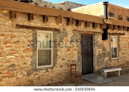 An old brick building at the Acoma Pueblo in New Mexico. - stock photo