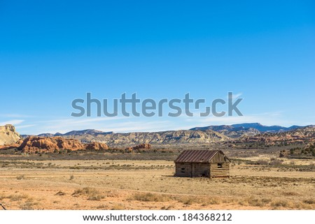An old cabin near Kodachrome state park - stock photo