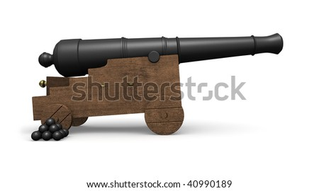 An old cannon from a pirate ship along with a stack of cannon balls on white - stock photo
