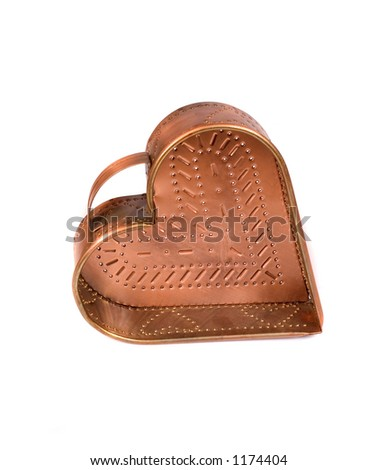 An old copper mold against white - stock photo