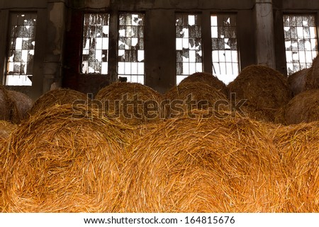 an old desolate straw bale depository, many windows - stock photo