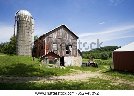 An old farm somewhere in Wisconsin, USA. - stock photo