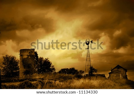 An old farm that has withered away. - stock photo