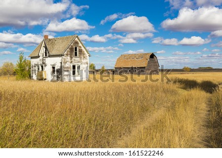 An old farm yard on the Canadian Prairies - stock photo