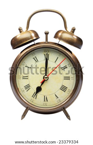 An old fashioned alarm clock at seven oclock isolated on white with clipping path part 8 of 12