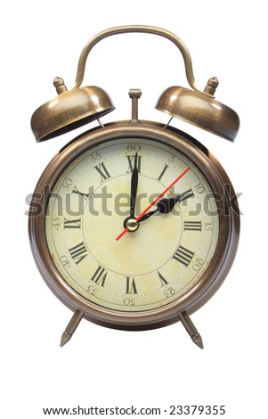 An old fashioned alarm clock at two oclock isolated on white with clipping path part 3 of 12