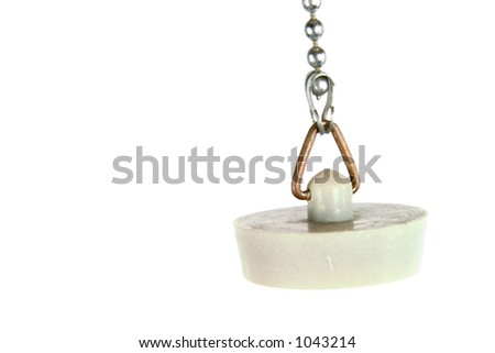 An old fashioned retro bathroom drain stop on a small link chain, isolated on white. - stock photo