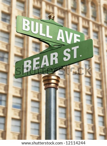 An old-Fashioned street sign for an intersection with street names that resemble the state of the coming market. - stock photo