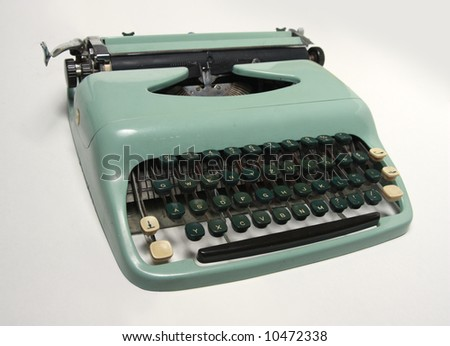An old-fashioned typewriter with Central European charset. - stock photo
