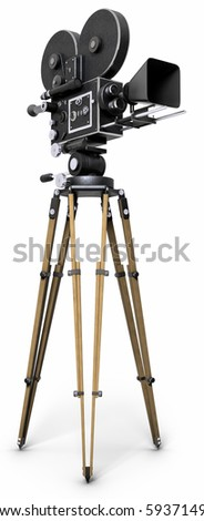 An old-fashoned movie camera on a tripod isolated on white. - stock photo