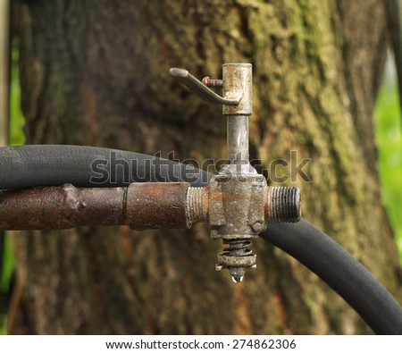 an old faucet on a rusty pipe and hose for watering plants - stock photo