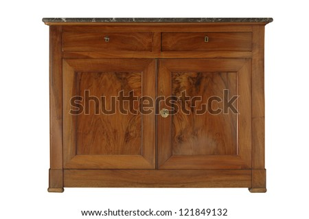 An old French sideboard from the nineteenth century in walnut wood. Clipping path included