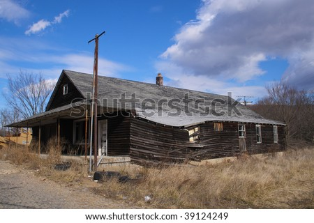An old general store rundown and abandoned - stock photo