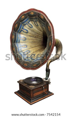 An old gramophone ornate with color pattern. - stock photo