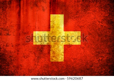 An old grunge flag of Switzerland state - stock photo