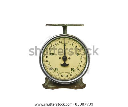 An Old Household Scale Isolated on White - stock photo