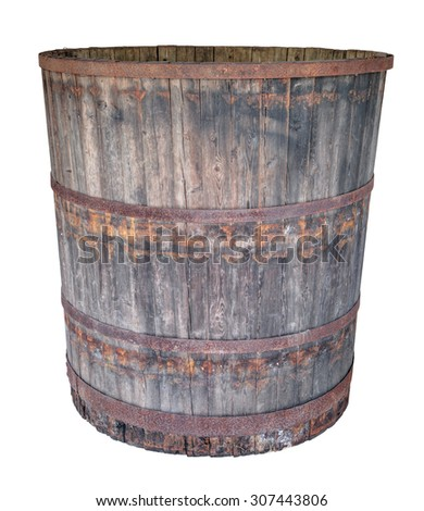 An old  large oak barrel, isolated on white background