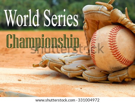 An old leather baseball mitt, or glove with a worn baseball laying on a home plate. There is clay around. Home plate needs to be dusted off. World Series, Major League Baseball message included - stock photo