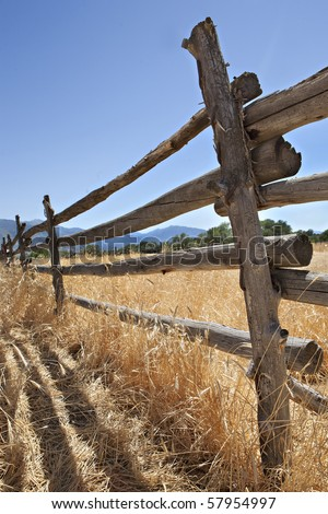 An old log fence in a field in the western United States, in the late afternoon sun. - stock photo