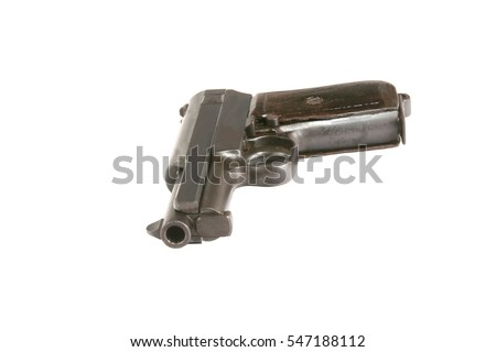 An old Mauser 1914 model pistol isolated on a white background