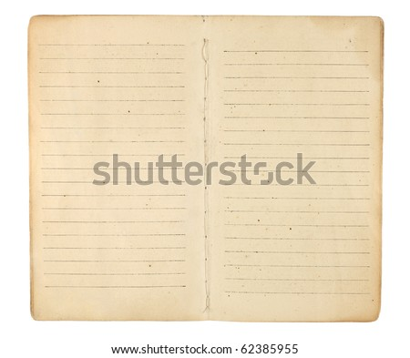 An old memo book or diary opened to reveal yellowing, blank, lined facing pages ready for images and text. Isolated on white. Includes clipping path. - stock photo