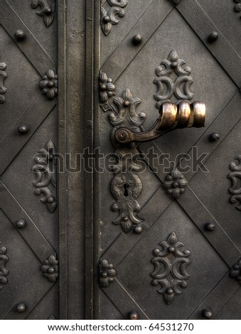 an old metal door - stock photo