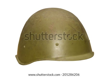 An old military helmet, isolated on white. - stock photo