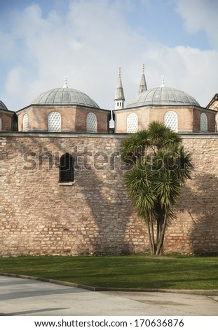 An old mosque museum Hagia Sofia in Istanbul, Turkey - stock photo
