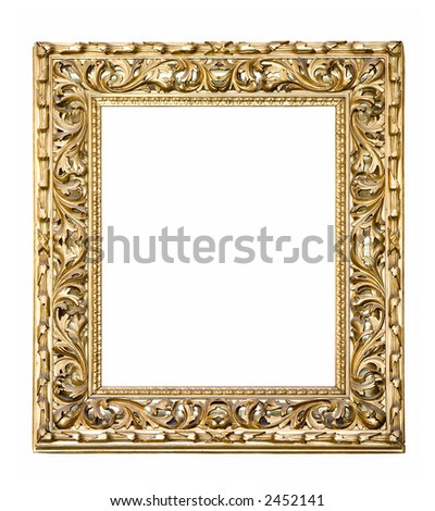 An old picture frame isolated on white - stock photo