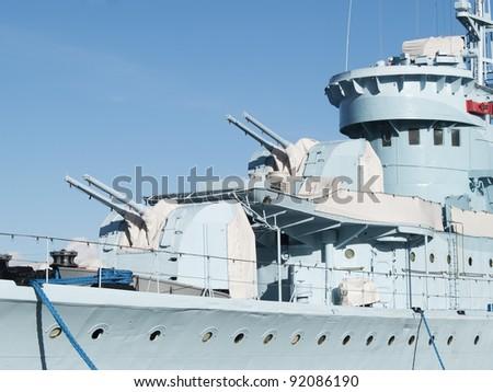 An old Polish navy ship - stock photo