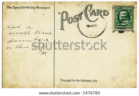 An old postcard back from the early 20th century. - stock photo