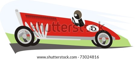 An old racer dashing along the racing circuit - color raster cartoon illustration