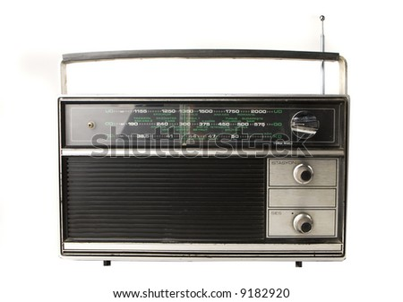 An old radio isolated on white - stock photo