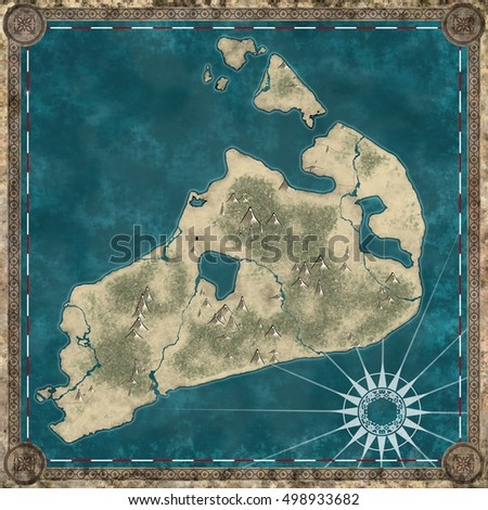 An old retro pirate treasure map of an island
