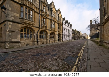 An old road in Oxford, Oxford university, England