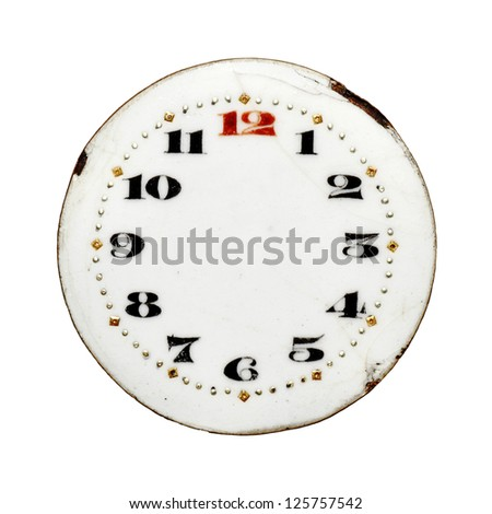 An old rugged ornate porcelain clock face with copyspace for text, isolated against white. - stock photo