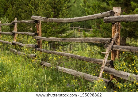 An old rustic fence surrounded by wildflowers in Colorado