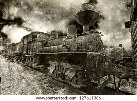 An old rusting vintage steam locomotive - stock photo