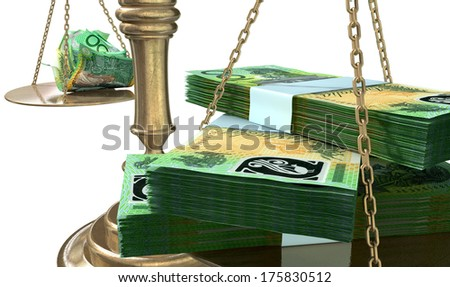 An old school bronze justice scale with stacks of australian dollar notes on one side and a few crumpled notes on the other representing the inequality in the income gap  an isolated white background - stock photo