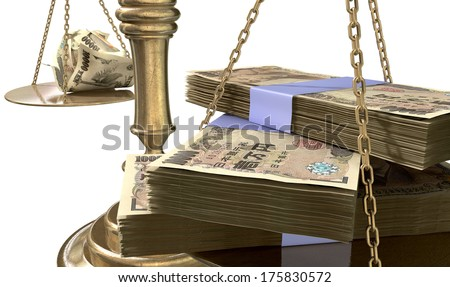 An old school bronze justice scale with stacks of japanese yen money on one side and a few crumpled notes on the other representing the inequality in the income gap  an isolated white background - stock photo