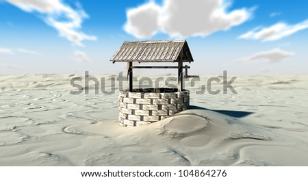 An old school well isolated in the middle of a vast sandy desert - stock photo