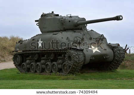 An old Sherman tank from World War II on display near Utah Beach, France - stock photo