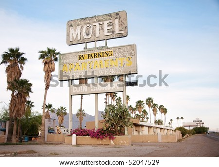 An old sign over old motel in Arizona, USA - stock photo