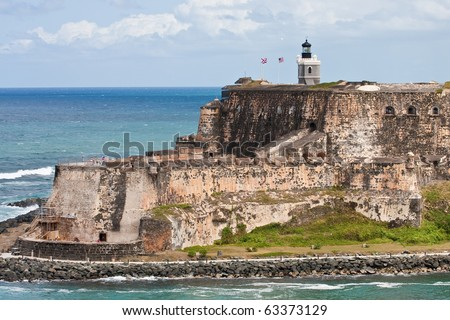 An old stone fort on a point of land in Puerto Rico - stock photo